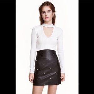 H&M Black Faux Leather Studded Mini Skirt